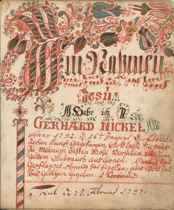 Illustration 4: Gerhard Nickel. ARITHMETIC TEXT. Montau, West Prussia, 1797. Mennonite Church USA Archives, Bethel College.